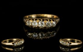 Antique Period 18ct Gold - 5 Stone Diamond Ring, Gallery Setting,