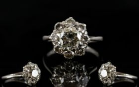 18ct White Gold Attractive 1930's Diamond Set Cluster Ring, Flower head Design.