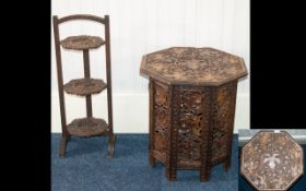 Early 20th Century Three Tier Folding Cake Stand Together With An Anglo Indian Folding Table Each