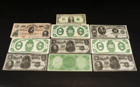 A set of ten notes purporting to be old united and confederate states of America banknotes.