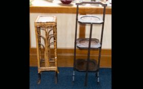 Early 20thC Three Tier Oak Folding Cake Stand, Height 33 Inches.