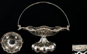 Elkington & Co Superb Quality Fancy / Ornate Open Worked Swing Handle Fruit Pedestal Bowl /