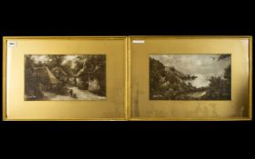 Two Early 20th Century Sepia Prints Each depicting landscapes, each framed and mounted under