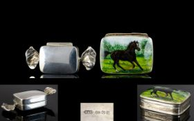 Contemporary Sterling Silver Novelty Hinged Pill Box, In The Form of a Toffee Wrapper,