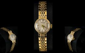 Rolex Ladies 9ct Gold Mechanical Cocktail Wrist Watch, with 17 Jewels Rubies Movement,