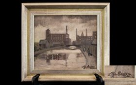 Roger Hanier Hampson (British 1925-1996) Untitled Oil On Board Depicting an urban canal scene with