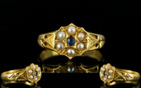 Antique Period - Nice Quality 22ct Gold Sapphire and Pearl Set Ring of Pleasing Form.