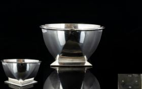 Art Deco Period Small Silver Bowl with Faceted Diamond Cut Sides, Raised on Square Shaped Base.