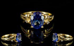 Ladies 18ct Gold Attractive Tanzanite and Diamond Set Dress Ring,