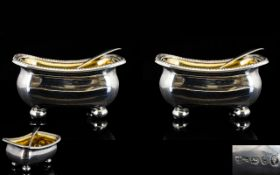 George III Pair of Silver Salts, Raised on Ball Feet,