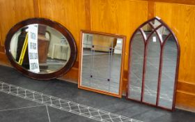 Collection Of Three Framed Mirrors, To Include An Arched Astral Glazed Style Mirror,