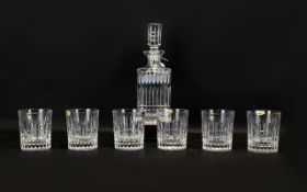 Lead Crystal Decanter & Six Matching Glasses. Lovely Polonia crystal set made in Poland.