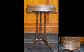 Early 20thC Tilt Top Tripod Table, Square Shaped Top,