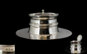 Victorian Period Sterling Silver Rounded Desk Inkwell with Combined Quill Holder of Pleasing Form,