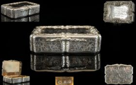 Nathaniel Mills Outstanding Solid Silver Rectangular Shaped Table Snuff Box. The Borders with Cast /