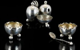 Victorian Period Sterling Silver Pair of Small Salts Raised on Ball Feet with Handkerchief Shaped