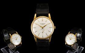 J.W. Benson Incabloc 9ct Gold Cased Mechanical Gents Wrist Watch, with Original Leather Strap. c.