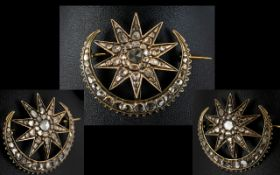 Georgian Period 18ct Gold Crescent Moon And Stars Diamond Brooch The whole,