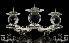 Swarovski Rare Cut Crystal Triple Candle Holder/Candelabra 3 Light European Pin Style.