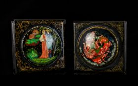 A Pair Of Early-Mid 20th Century Russian Lacquer Boxes Each of small proportion and square form