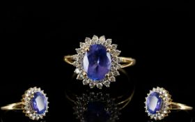 18ct Gold Tanzanite and Diamond Set Dress Ring, Fully Marked for 18ct,