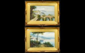 A Pair Of Late 19th Early 20th Century Mixed Media Paintings Each depicting continental lake scenes.