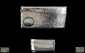 Antique Period Arts and Crafts Planished Silver Hinged Card Case with Arched Convex Shape.