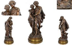 Mathurin Moreau (French 1822 - 1912) Patinated Bronze Figure Group Le Printemps (Springtime)