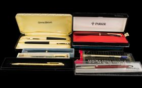 A Collection Of Pens And Fountain Pens To include Conway Stuart penset with box,