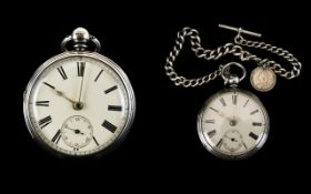 Victorian Period Excellent Quality Solid Silver Chain Driven Open Faced Pocket Watch of Heavy Gauge,