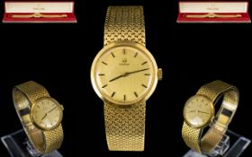 Omega - Ladies 18ct Gold Wrist Watch with Integral 18ct Gold Mesh Bracelet, Jeweled Rubies Movement,