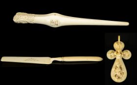 A Small Collection of Antique Well Carved Ivory Pieces ( 3 ) In Total.