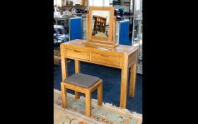 A Contemporary Golden Oak Scandinavian Style Dressing Table Of Modern,
