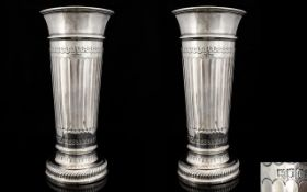 Antique Period Very Fine Pair of Neo Classical Solid Silver Vases of Wonderful Proportions and