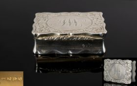 Victorian Silver Pillbox Of shaped form with hinged lid and gilt interior, fully hallmarked,