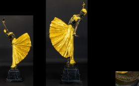 Art Deco Style Nice Quality - Impressive and Tall Reproduction Painted Bronze Figure After