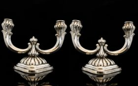 Art Nouveau Period Stylish Pair of Silver Twin Branch Candelabra ' Tulip Bud ' Design. c.1900.