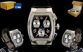 Technomarine Geneve Technosquare 3 Hands Diamond Set Watch Complete with box, papers,