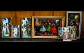 A Collection Of Eight Continental Style Oil On Canvas Artworks Each in swept gilt frames, to include