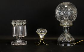Art Deco Period Cut Glass Table Lamp c1940/1950's, 13 inches high,