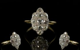 18ct Gold and Platinum Diamond Set Dress Ring,