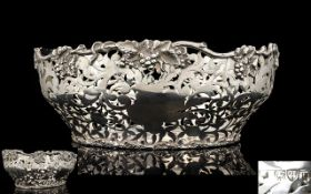 Late Victorian Period Superb Quality Open Worked Well Made Silver Centrepiece / Bowl with Cast