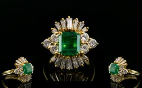 Stunning 1950's 18ct Gold Emerald and Diamond Set Ladies Cocktail Dress Ring. The Central Faceted