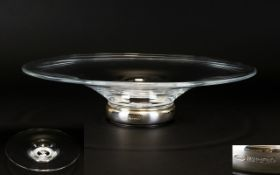 Broadway Silversmiths Large and Contemporary Designed Impressive Silver Footed and Hand Blown