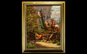 "Prof Gerhard Bluhm (1924- ) Framed Oil On Canvas ""Chicken Farm"" 20 x 15 Inches,"