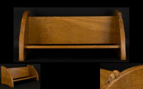Robert Thompson Mouseman Hand Carved Oak Bookshelf Small shelf, of traditional form with integral