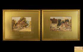 John Edgar Platt ( British 1886-1967) A Pair Of Original Watercolours On Paper 'Cottages Near