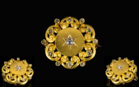 Antique Period - Attractive 18ct Gold Diamond Set Starburst Circular Open Worked Brooch of Good