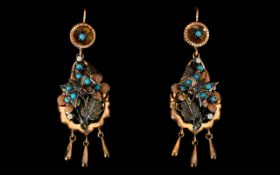 Victorian Period Rose Gold Turquoise And Seed Pearl Set Drop Earrings Wired earrings of teardrop
