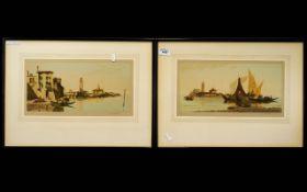 Joseph Kirkpatrick A Pair Of Artist Signed Aquatint Etchings, Each depicting Venetian scenes, signed